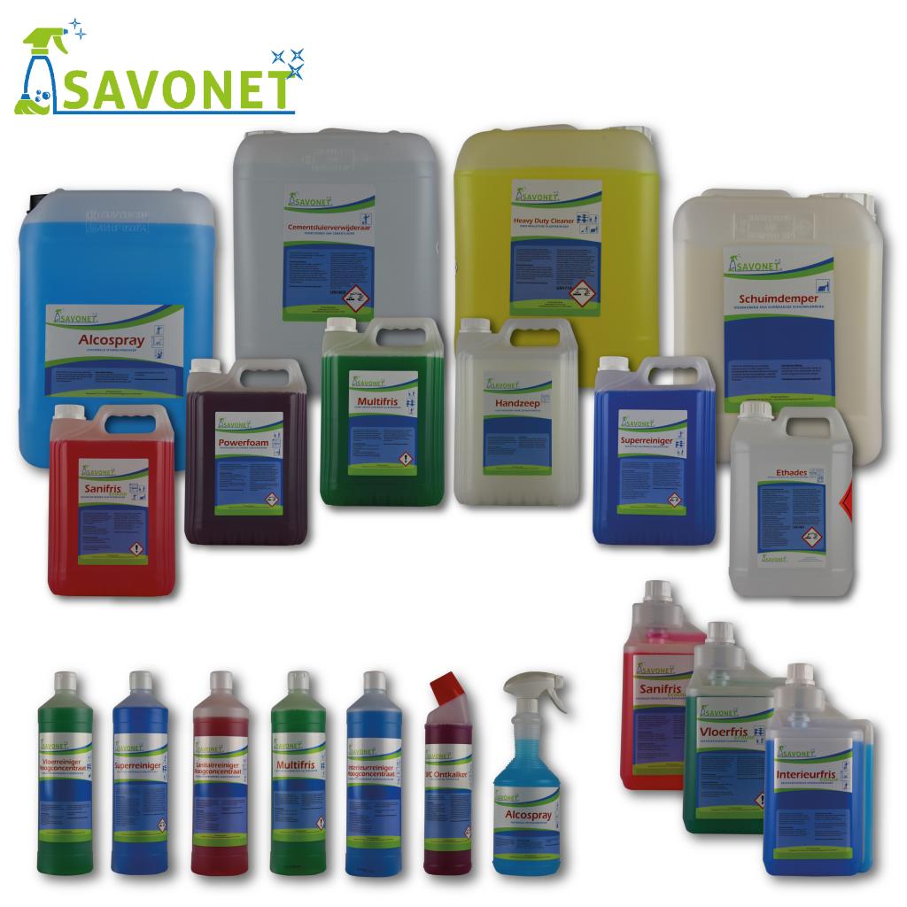 Etiketten ontwerp Savonet schoonmaakbedrijf